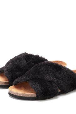 lascana slippers pantoffels met comfortabel kurkvoetbed en heerlijk zacht imitatiebont zwart