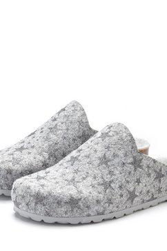 lascana pantoffels pantoffels van vilt met warm kurken voetbed en sterrenprint grijs