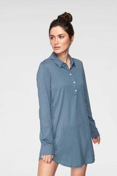 marc o'polo nachthemd met staande kraag en zakken opzij blauw