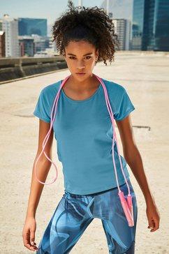 active by lascana shirt met korte mouwen blauw