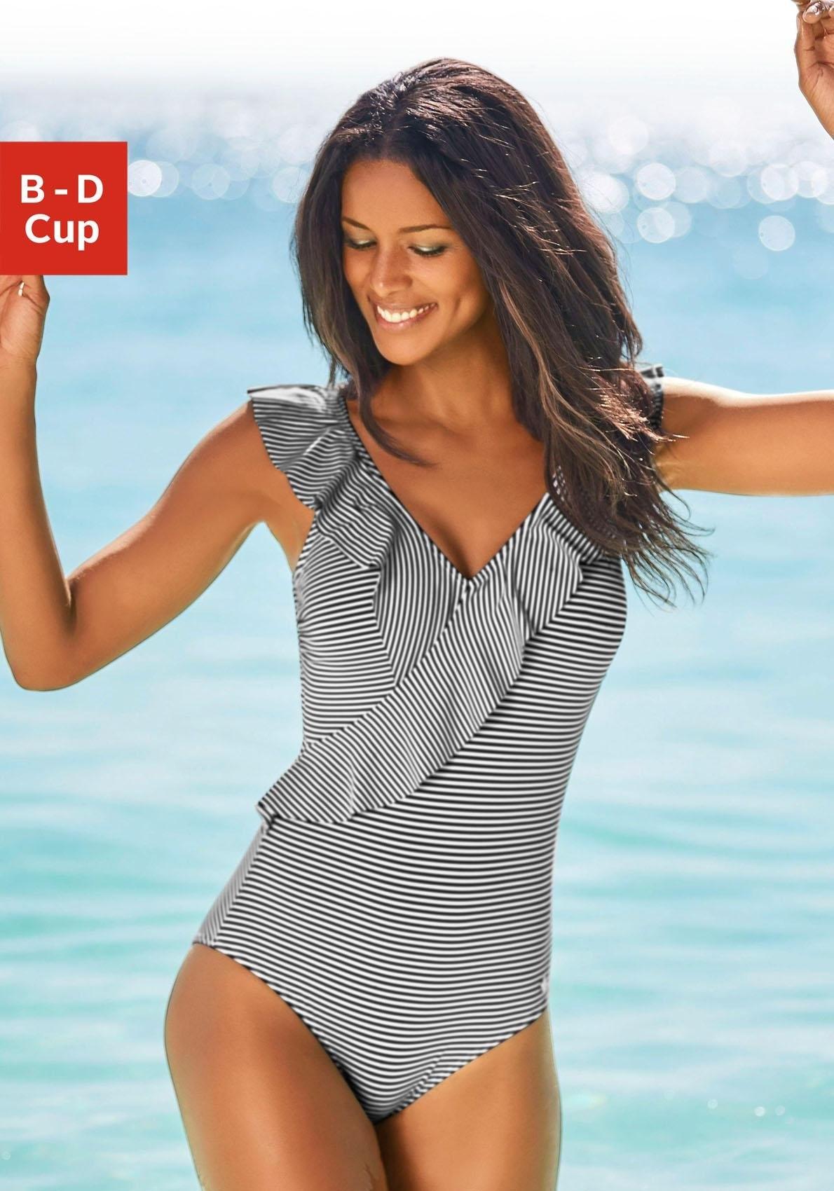 Lascana Badpak in off-shouldermodel en met volants in de webshop van Lascana kopen