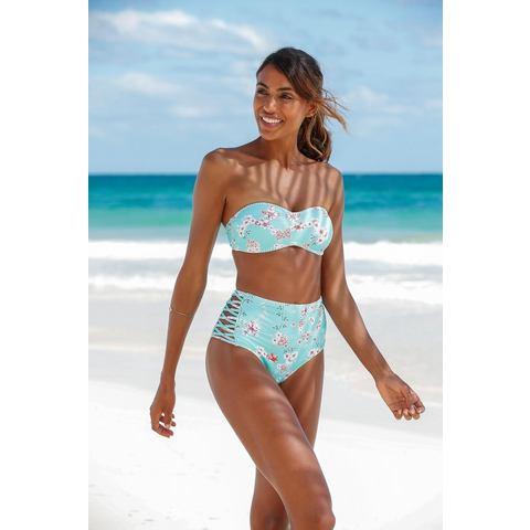 Sunseeker highwaist-bikinibroekje Ditsy met gehaakt randje en sierbandjes opzij