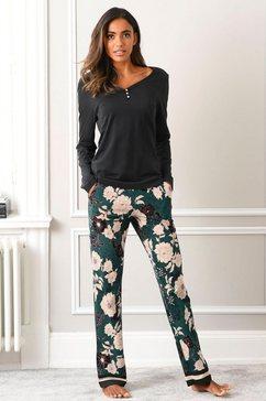 s.oliver red label beachwear pyjama met gebloemde pyjamabroek zwart