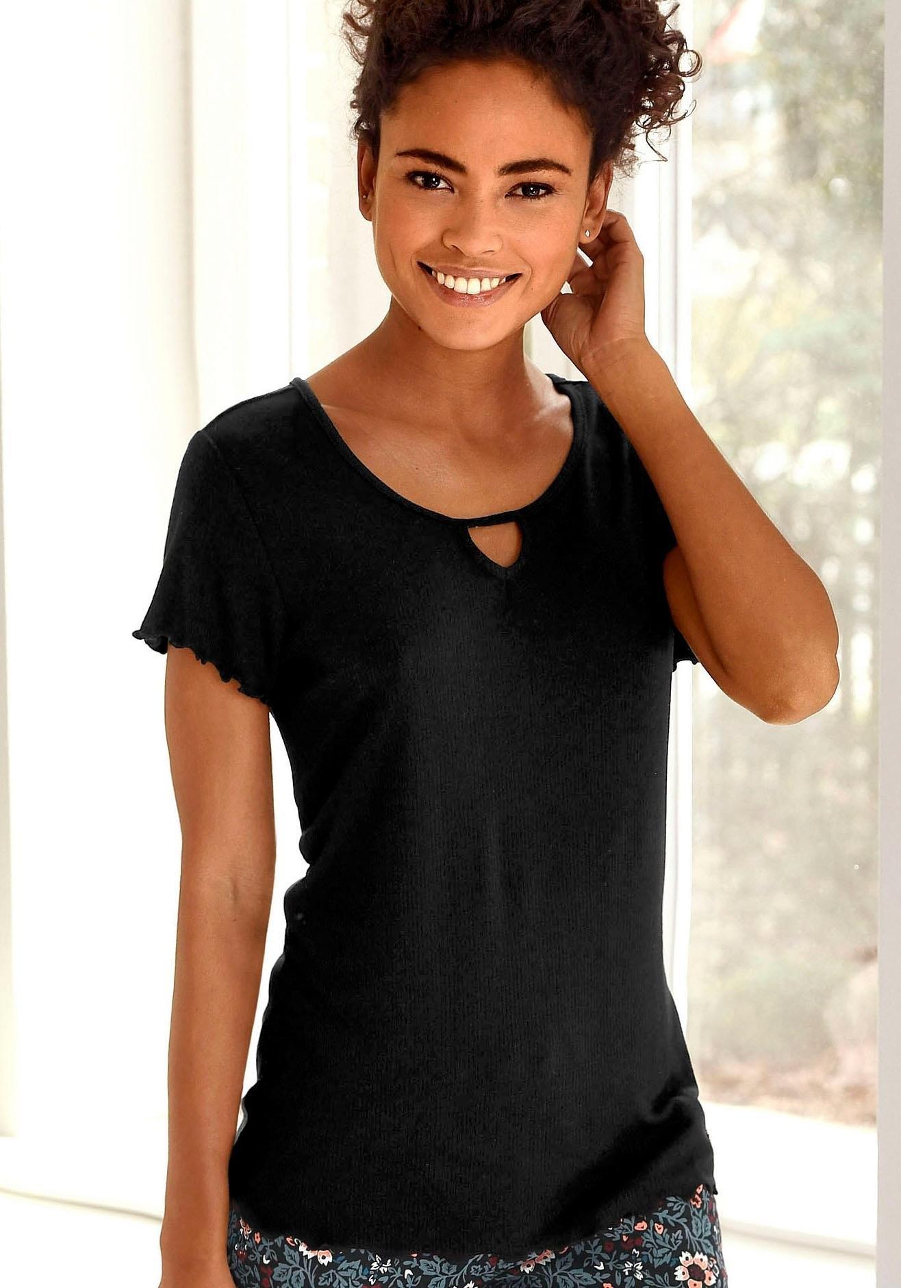 s.Oliver RED LABEL Beachwear T-shirt van geribde stof met rimpelrandjes bij Lascana online kopen