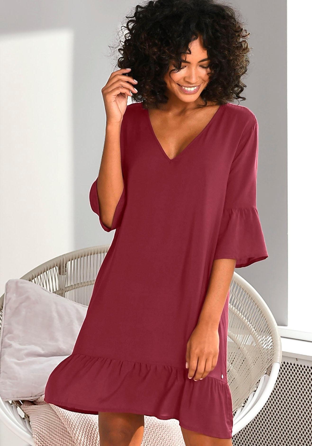 s.Oliver RED LABEL Beachwear nachthemd motief all-over met ruchezomen voordelig en veilig online kopen