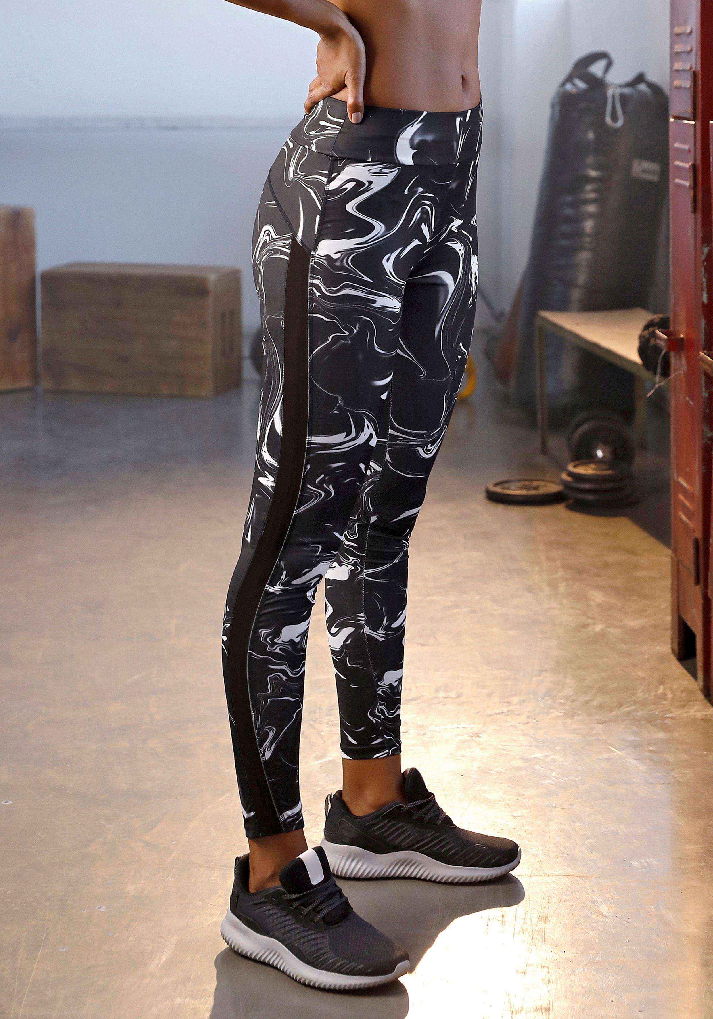 Lascana Active active by LASCANA legging met mesh-inzetten in streep-look - gratis ruilen op lascana.nl