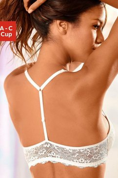 lascana push-up-beha met t-back en voorsluiting beige