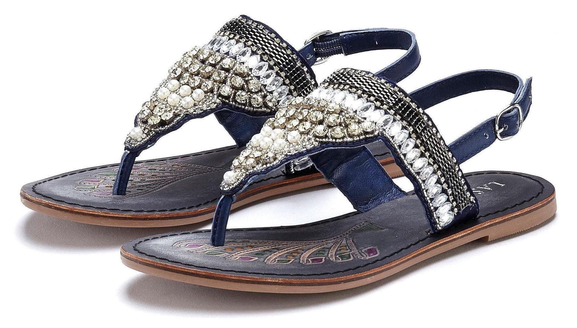 LASCANA teenslippertjes in metallic-look nu online kopen bij Lascana