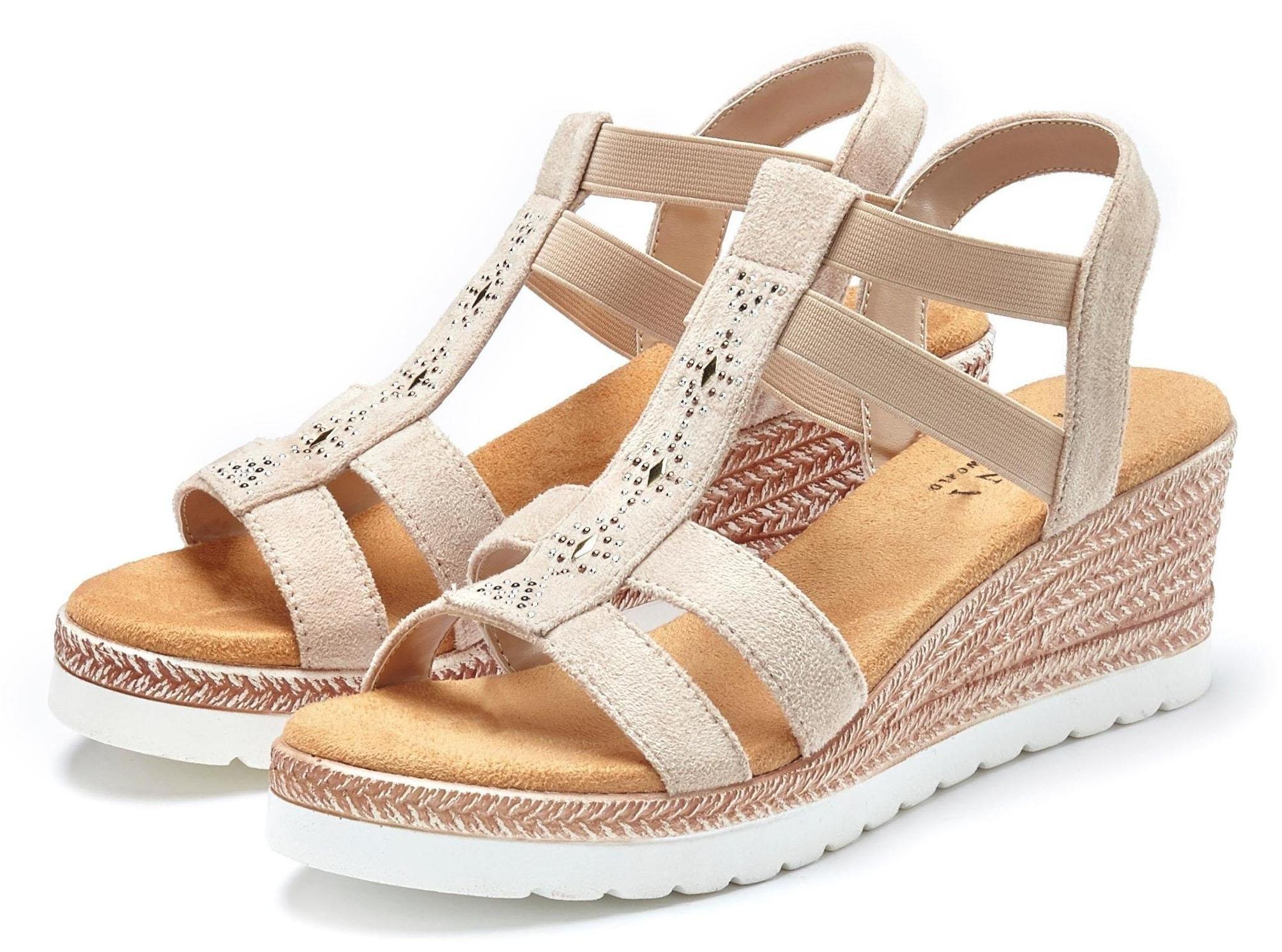 Lascana sandaaltjes met sleehak en decoratieve siersteentjes online kopen op lascana.nl
