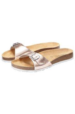 lascana slippers met comfortabel kurkvoetbed en metallic-look roze