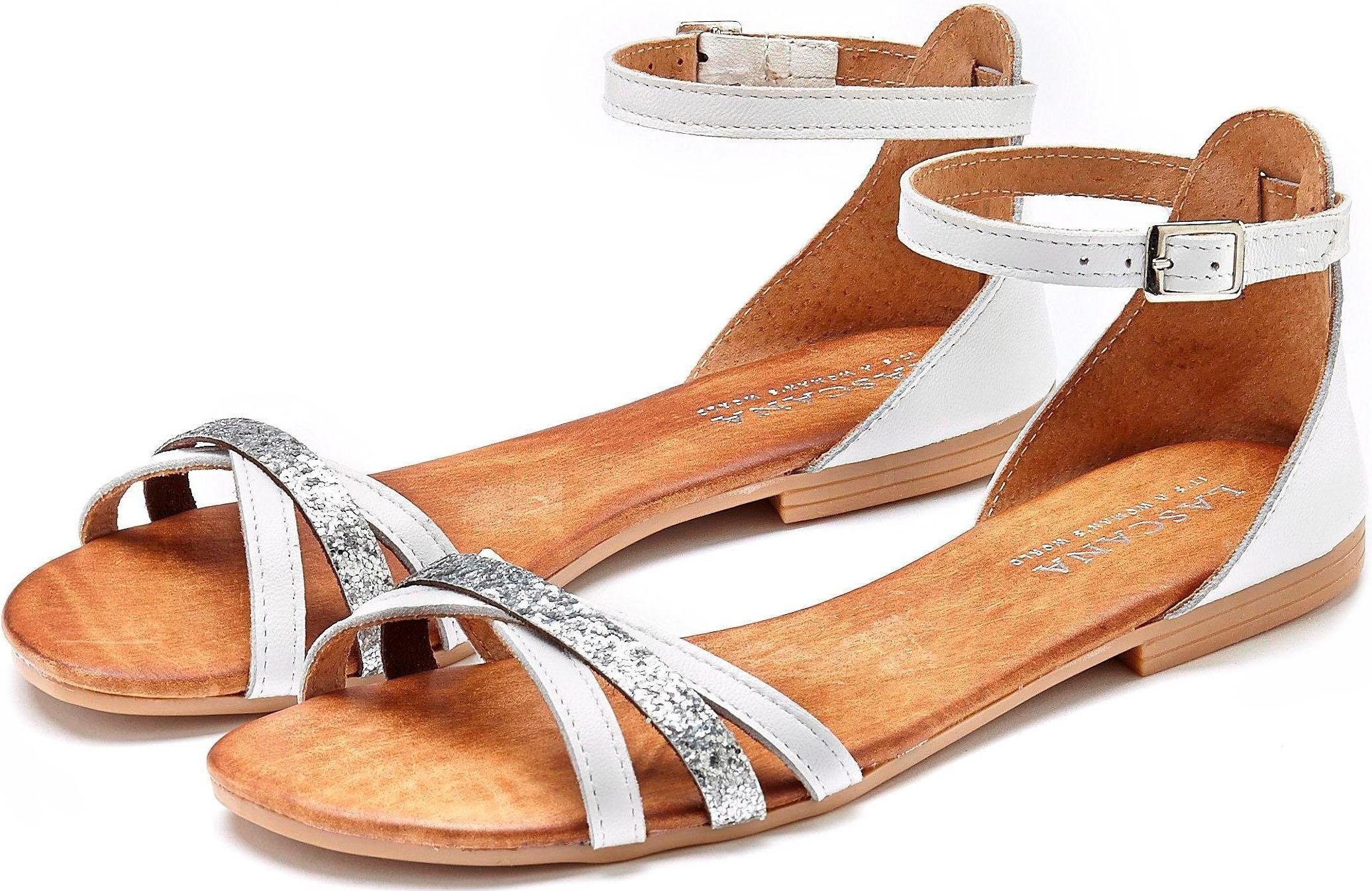 Op zoek naar een Lascana sandalen van leer met glitterriempjes? Koop online bij Lascana