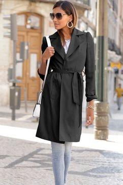 lascana trenchcoat (met een bindceintuur) zwart
