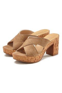 lascana slippers van leer met blokhak beige