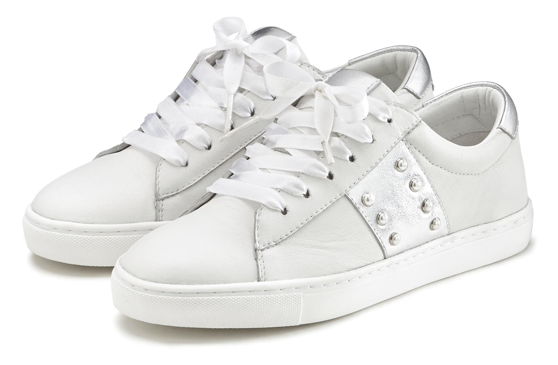 Lascana sneakers van zacht leer met metallic-inzetten in de webshop van Lascana kopen