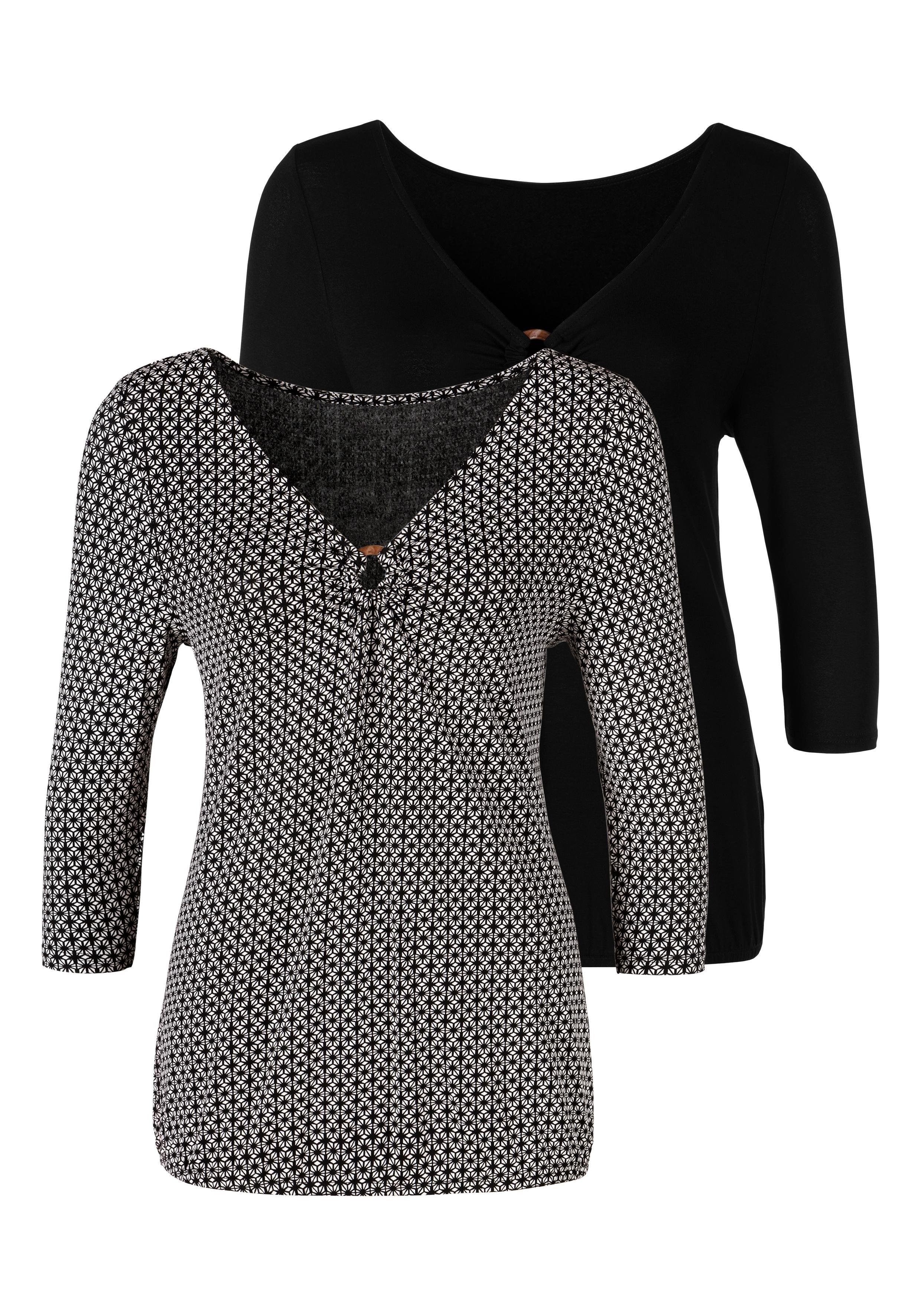 Lascana shirt met 3/4-mouwen met ingewerkte ring in hoorn-look voor (Set van 2) in de webshop van Lascana kopen