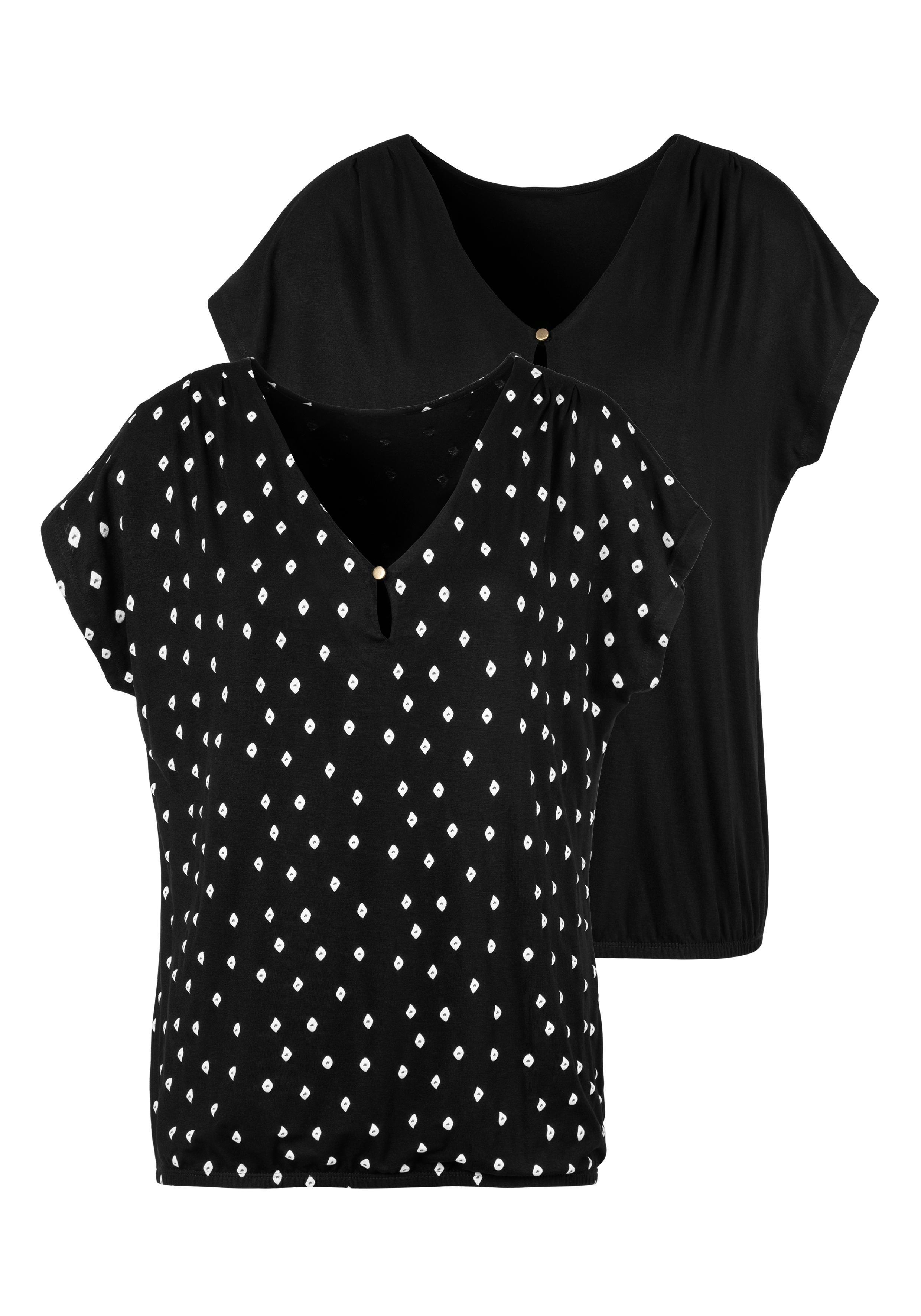 Lascana T-shirt met schouderrimpeling (Set van 2) in de webshop van Lascana kopen