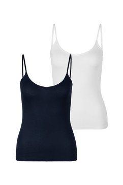 s.oliver red label beachwear top met spaghettibandjes bijzonder zachte ribkwaliteit (set van 2) blauw