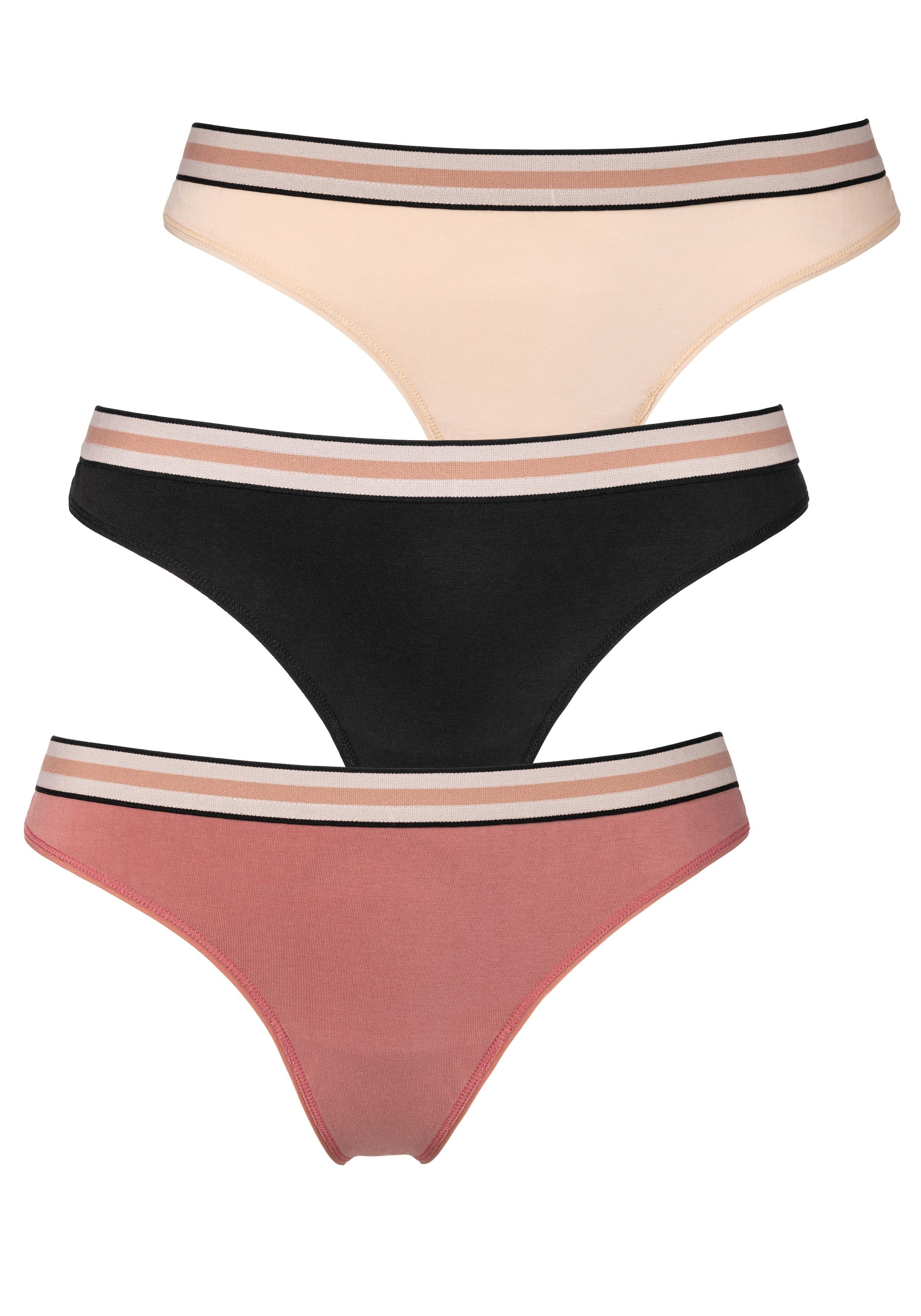 s.Oliver RED LABEL Beachwear string met zachte weefband (3 stuks) goedkoop op lascana.nl kopen