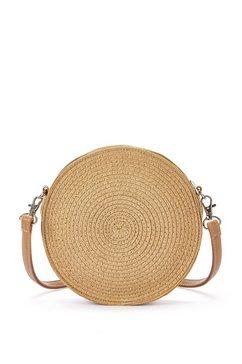 lascana schoudertas kleine strandtas, mini-bag in modieuze raffia-look en rond model bruin