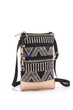 lascana schoudertas mini-bag, tasje voor de mobiele telefoon, kan omgehangen worden, in modieuze etno-look zwart