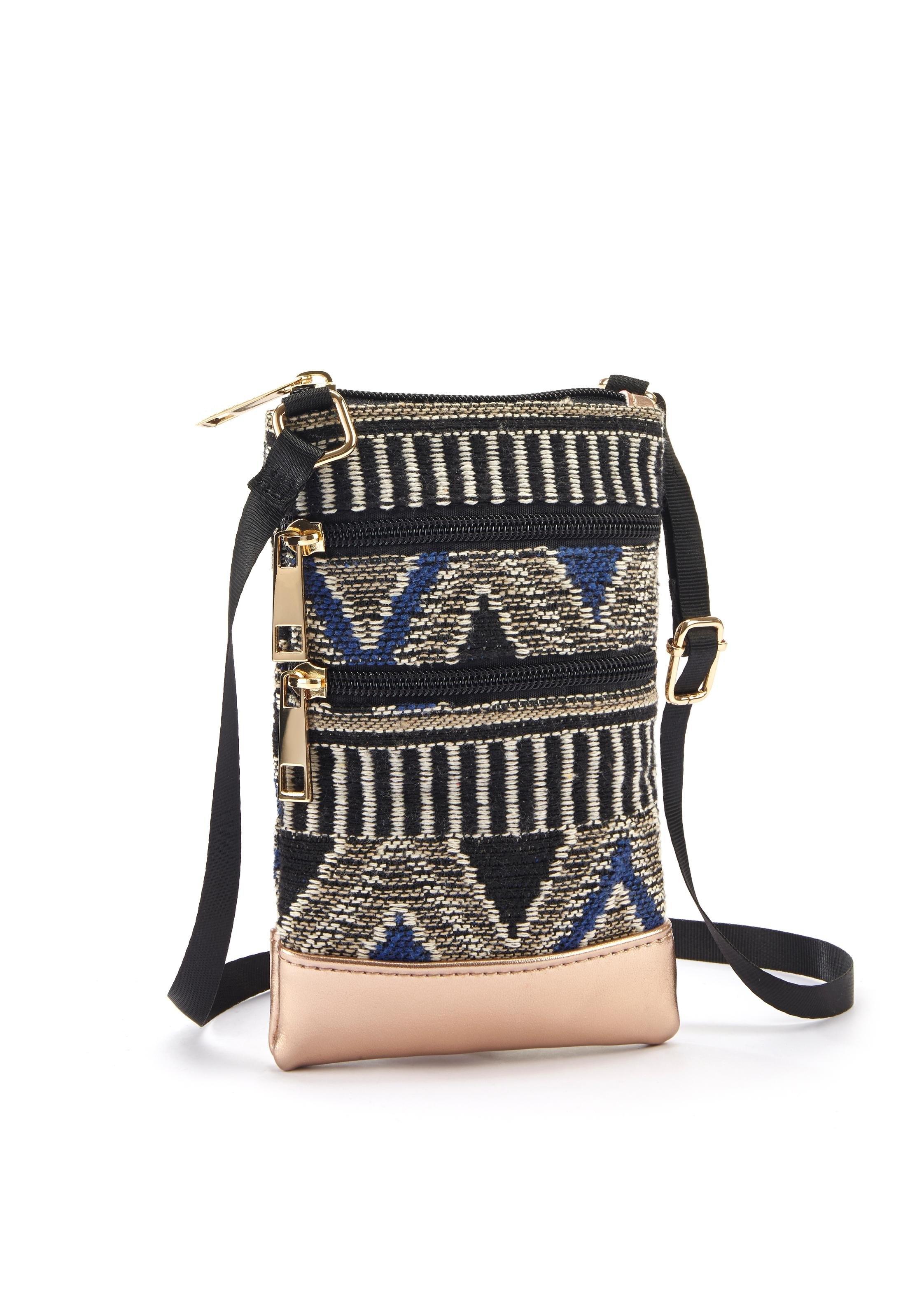 Lascana schoudertas Mini-bag, tasje voor de mobiele telefoon, kan omgehangen worden, in modieuze etno-look in de webshop van Lascana kopen