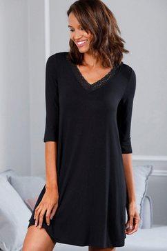 lascana nachthemd met kanten details zwart