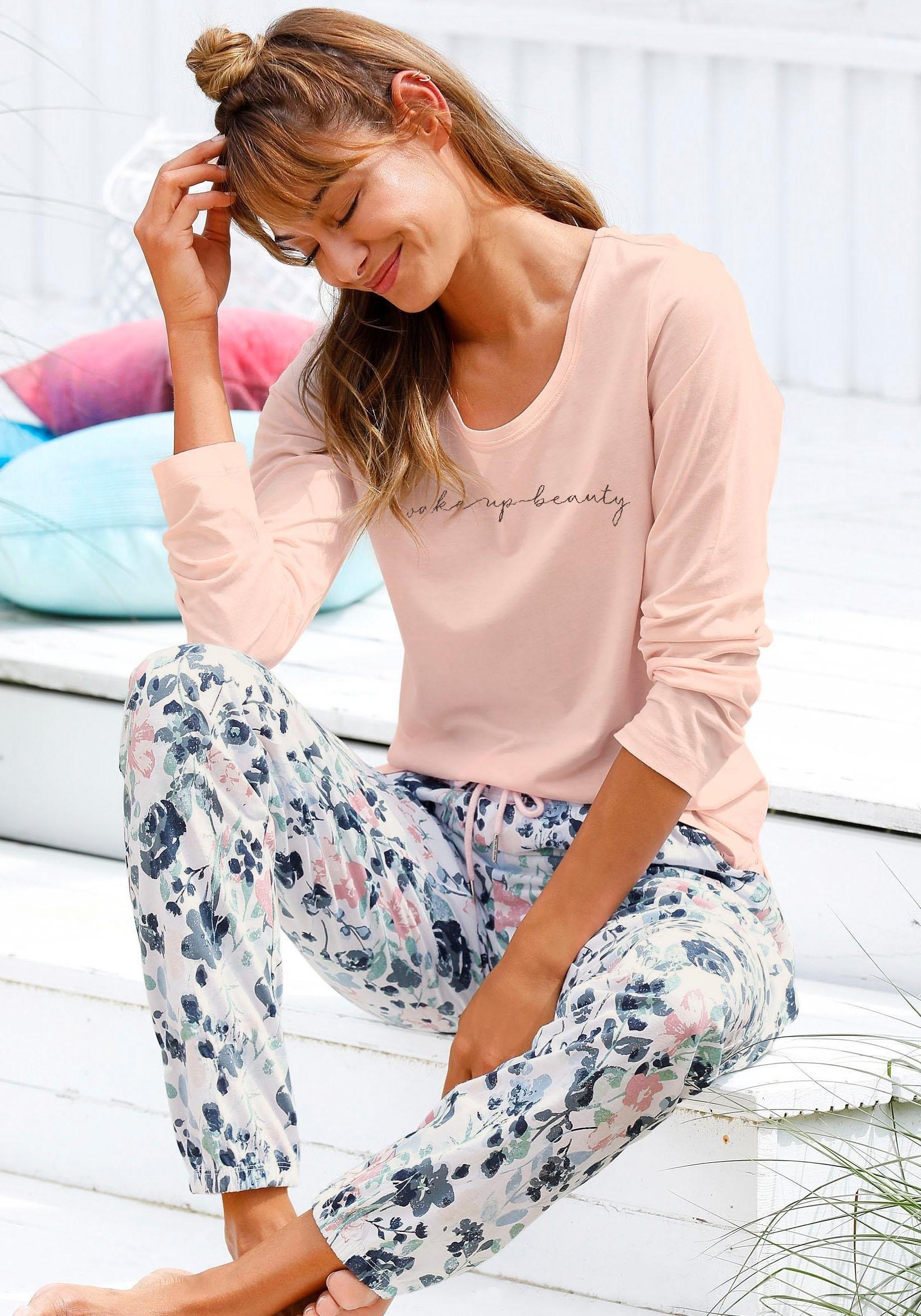 Vivance Dreams pyjama met bloemmotief in aquarel-look nu online kopen bij Lascana