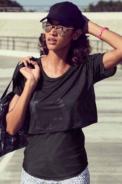 active by lascana 2-in-1-shirt digital mauve in laagjesdesign zwart