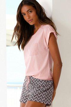 vivance dreams shortama met gedessineerde pyjamashort roze