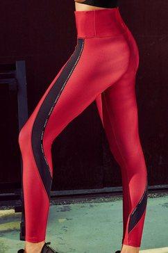 active by lascana functionele legging technical red met contrastkleurige strepen rood