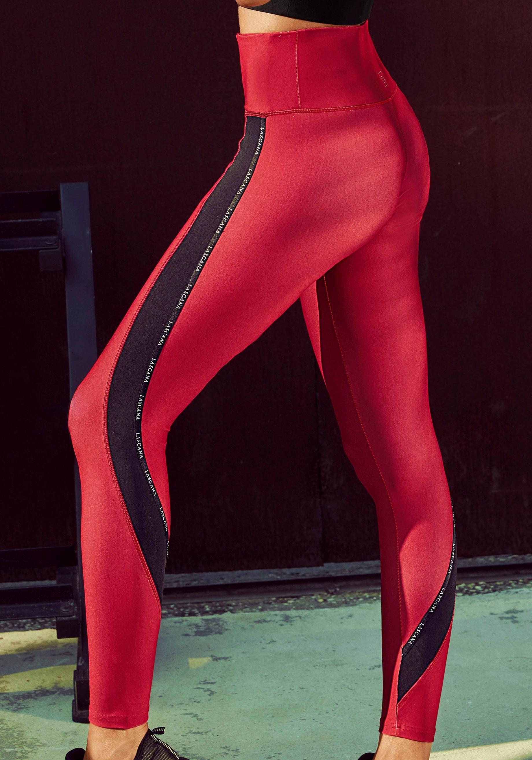active by Lascana functionele legging Technical Red met contrastkleurige strepen online kopen op lascana.nl
