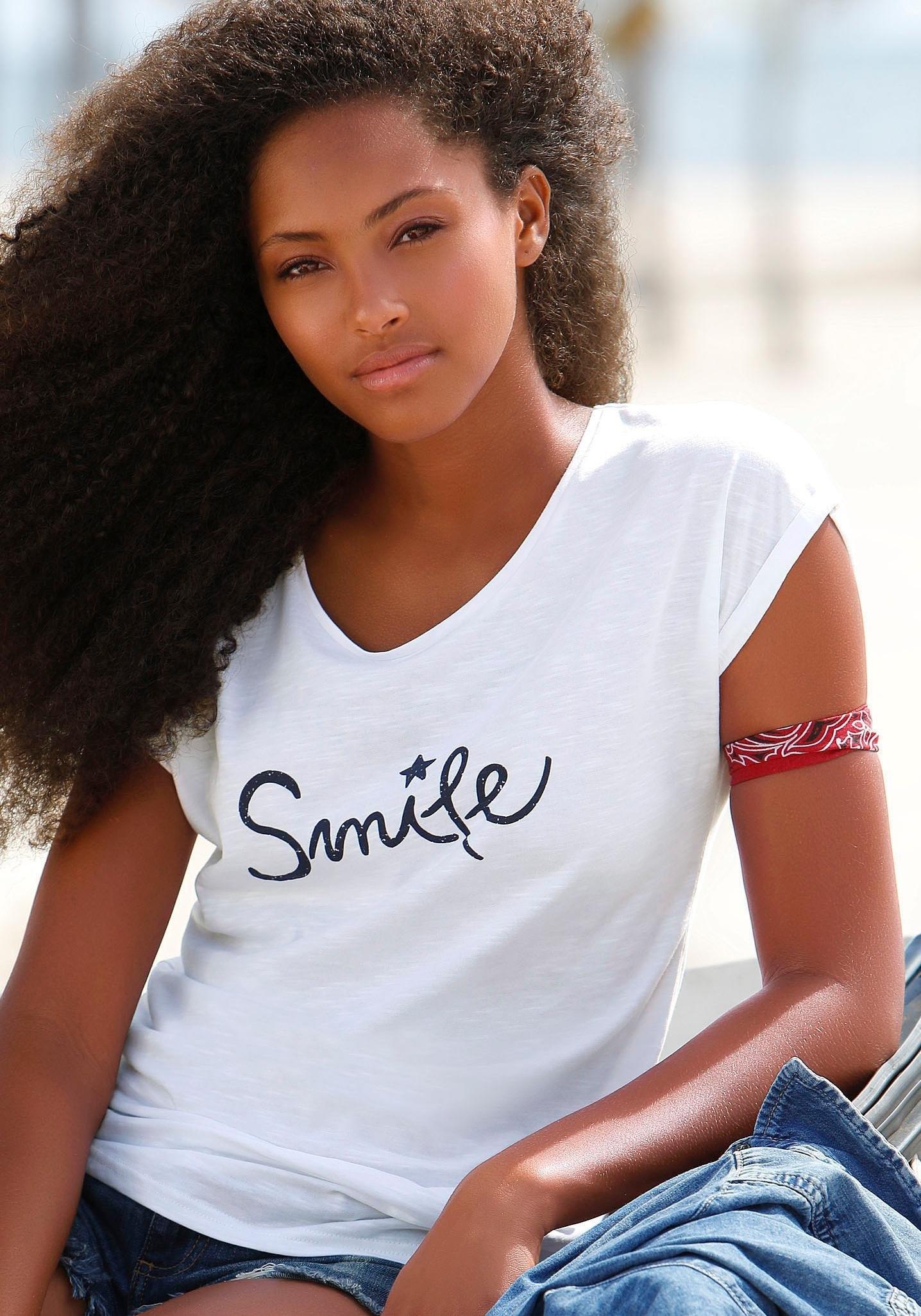 beachtime T-shirt (set van 2) met maritieme ankerprint in de webshop van Lascana kopen
