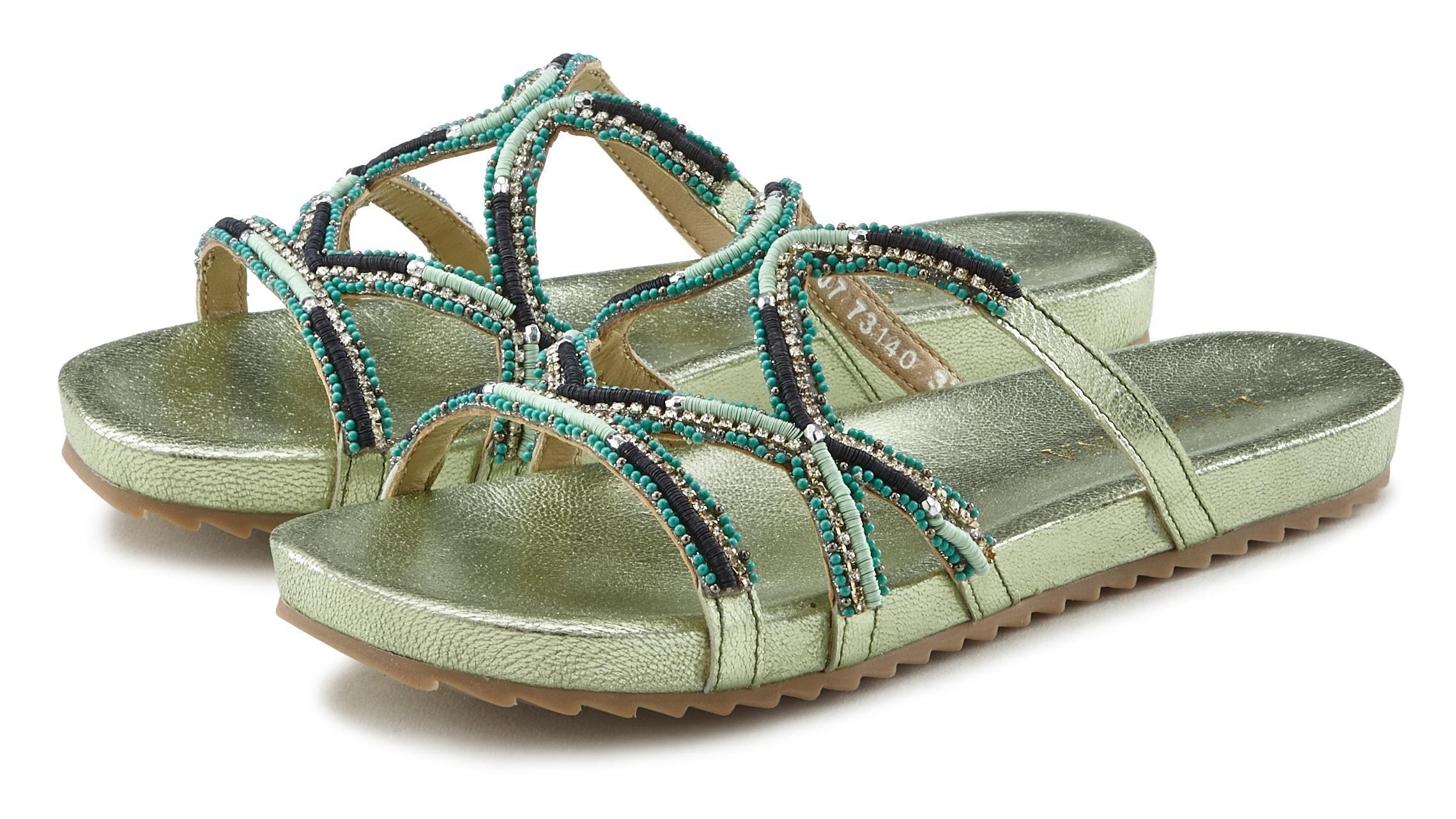 Lascana slippers van leer met een luxueuze garnering nu online kopen bij Lascana
