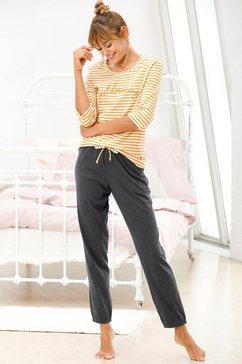 vivance dreams pyjama met streepdessin met 3-4-mouwen geel