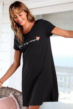vivance dreams nachthemd in wijd model met een opschrift zwart