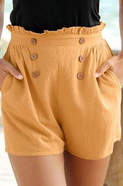 lascana short in paperbag-look geel