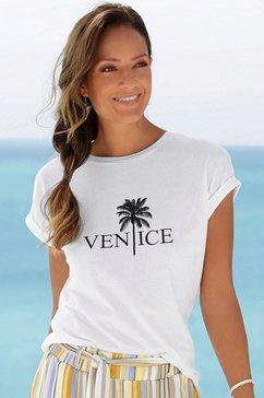 venice beach shirt met ronde hals met frontprint wit
