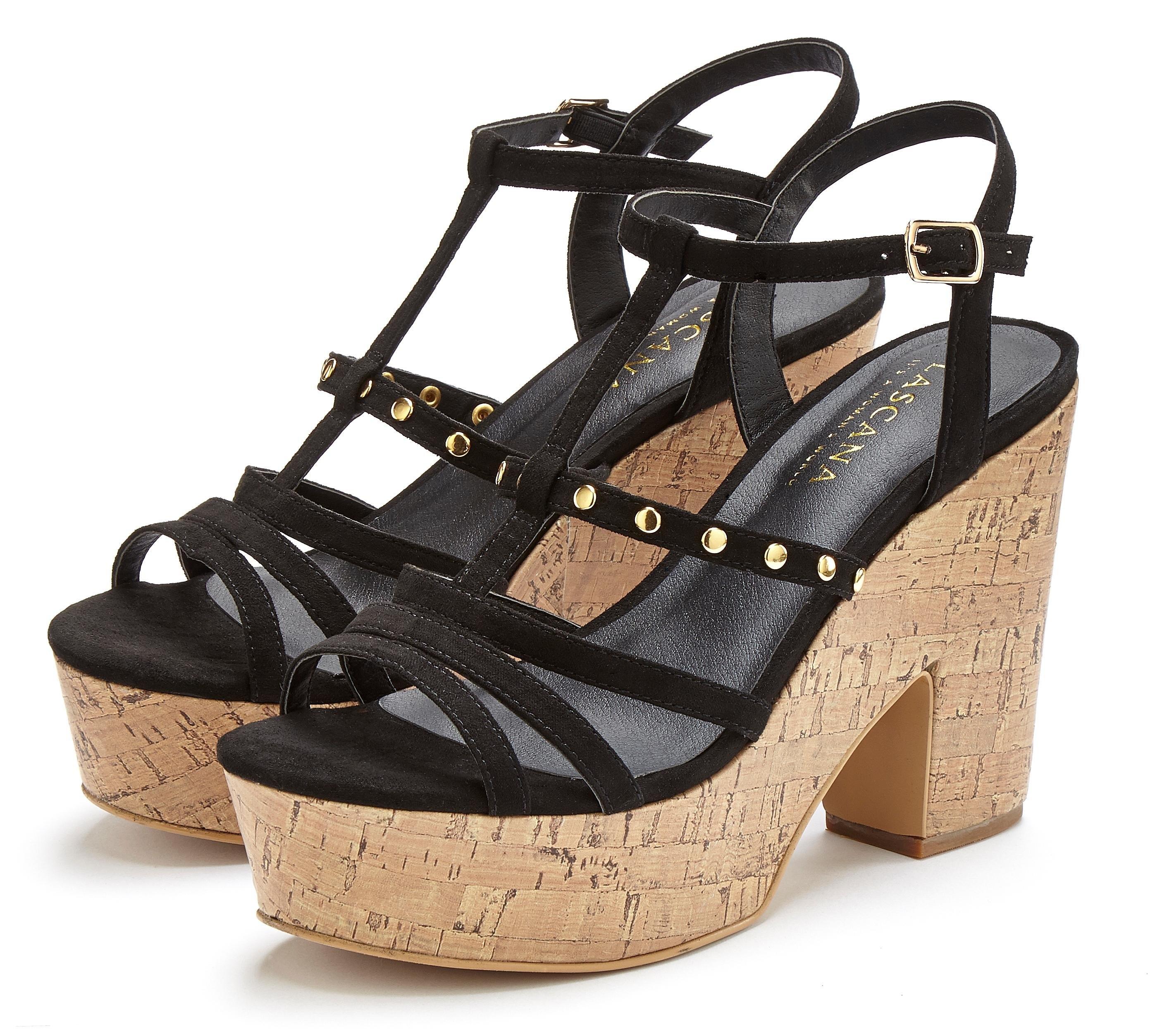 Lascana highheel sandaaltjes met modieus plateau en kurk-look nu online kopen bij Lascana