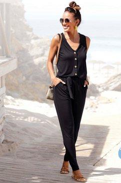 lascana jumpsuit met knoopsluiting voor (met een bindceintuur) zwart