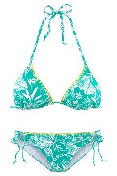 venice beach triangelbikini met contrastkleurig gehaakt randje groen