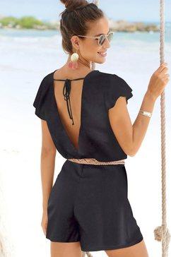 s.oliver red label beachwear korte jumpsuit met lage ruglijn zwart