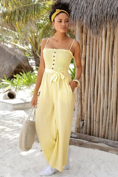lascana jumpsuit (met bindstrik) geel