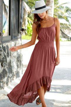 lascana maxi-jurk in model dat voor kort en achter lang is bruin