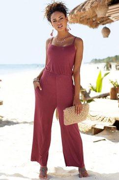 s.oliver beachwear jumpsuit in culotte-stijl paars