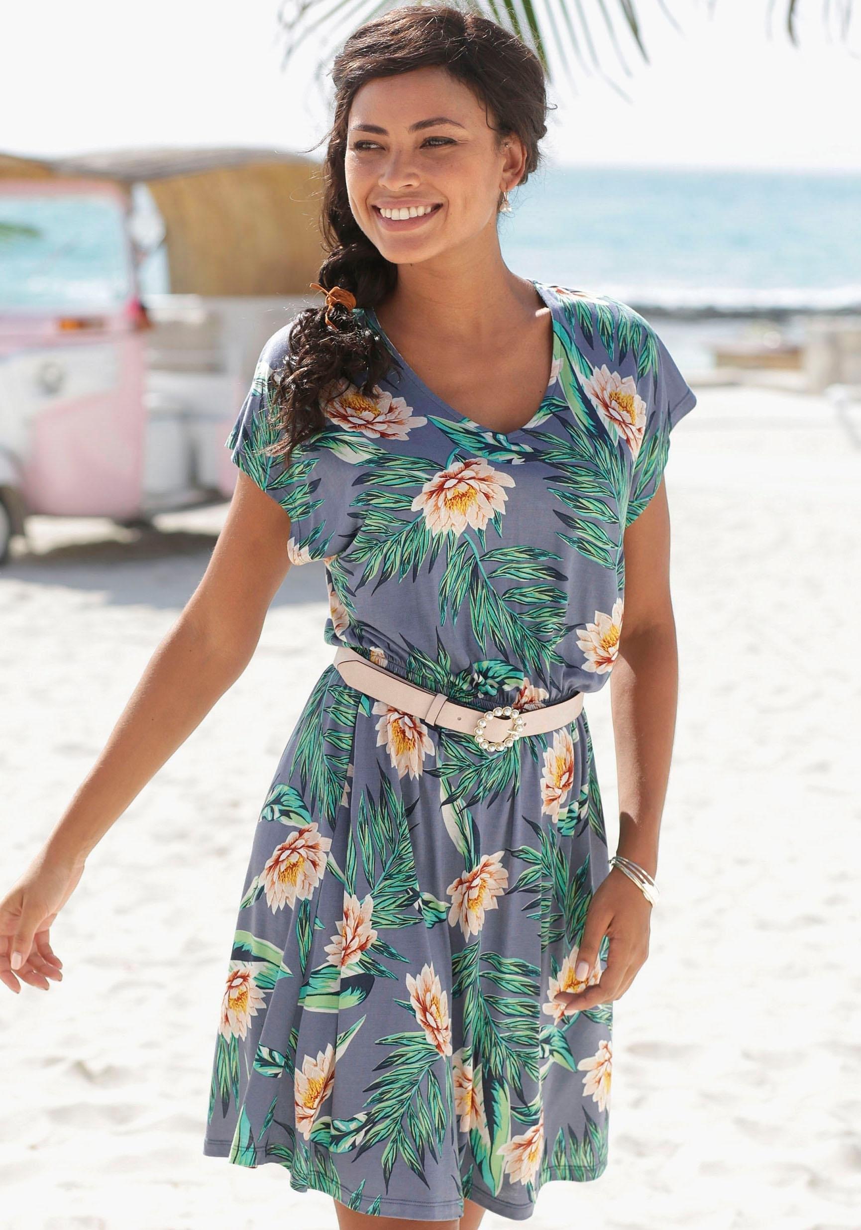 s.Oliver RED LABEL Beachwear zomerjurk met v-hals achter goedkoop op lascana.nl kopen