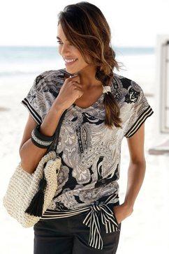lascana shirt met korte mouwen met paisleyprint zwart