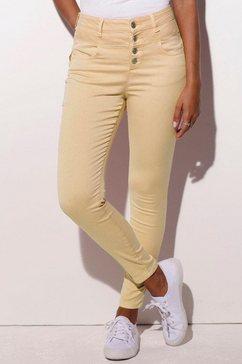 lascana highwaist-jeans geel