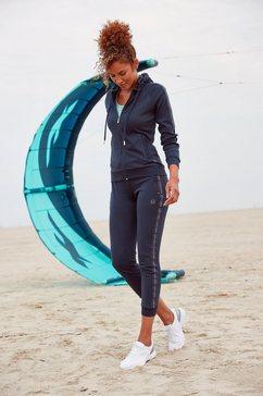 active by lascana trainingsjack met logo tape aan de mouwen blauw