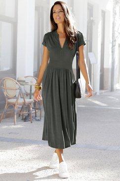 lascana midi-jurk met ritssluiting bij de hals groen