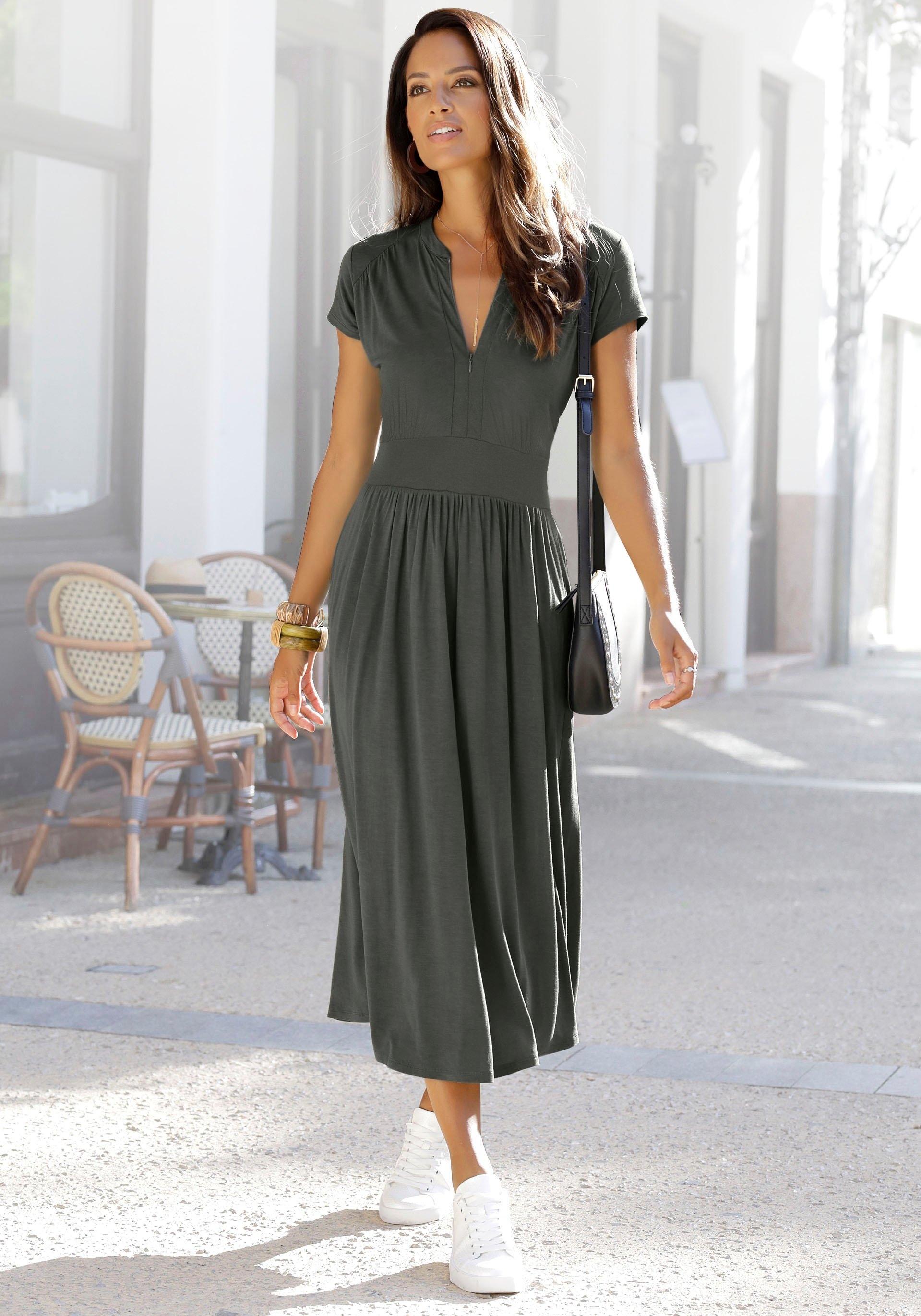 Lascana Midi-jurk met ritssluiting bij de hals bestellen: 30 dagen bedenktijd